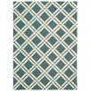 Nourison Linear Hand-Woven Teal / Ivory Area Rug