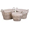 My Maison Vintage 3 Piece Oval Willow Basket Set