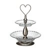 All Home 38 cm 2 Tier Glass Cake Stand