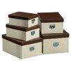 All Home Mock Croc 5 Piece Storage Box Set in Cream