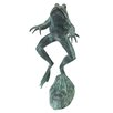 Design Toscano Medium Leaping Spitting Frog Cast Garden Statue