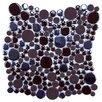 """EliteTile Posh Bubble 11.25"""" x 12"""" Porcelain Mosaic Tile in Brown"""