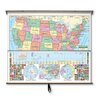 Universal Map Primary Wall Map Combo - U.S. / World