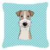 Caroline's Treasures Checkerboard Wire Haired Fox Terrier Indoor/Outdoor Throw Pillow