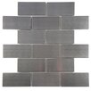 """EliteTile Divine 2"""" x 4"""" Subway Stainless Steel Over Porcelain Mosaic Tile in Silver"""