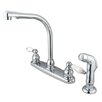 Elements of Design Victorian Double Handle Centerset High Arch Kitchen Faucet with Porcelain Lever Handles and Side Spray