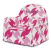 P'kolino Little Reader Pink Leaves Personalized Kids Foam Chair with Storage Compartment