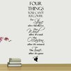 Decal the Walls Four Things You Can't Recover Quote Wall Decal