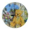 Obique 28cm Teddy Bear and Flowers Scene Wall Clock
