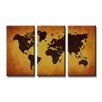 Urban Designs World Map 3 Piece Graphic Art on Canvas Set