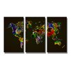 Urban Designs World Map 3 Piece Graphic Art Wrapped on Canvas Set