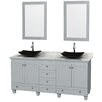 """Wyndham Collection Acclaim 72"""" Double Oyster Gray Bathroom Vanity Set with Mirror"""