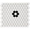 "EliteTile Retro Hexagon 0.875"" x 0.875"" Porcelain Mosaic Tile in Glazed Black/Cream"