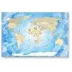 LanaKK Glasbild Worldmap Frozen, Fotodruck