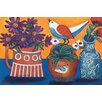 Marmont Hill Orange and Blue Vases' Art Print Wrapped on Canvas