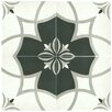 "EliteTile Forties 7.75"" x 7.75"" Ceramic Patterned/Field Tile in White/Gray"