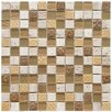 """EliteTile Kathedra 0.88"""" x 0.88"""" Glass and Stone Mosaic Wall Tile in Milano Brown and Cream"""