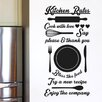 Cut It Out Wall Stickers Kitchen Rules Cook with Love Try a New Recipe Wall Sticker