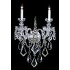 House of Hampton Milan 2-Light Candle Wall Sconce in Majestic Wood Polished Crystal