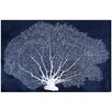 Beachcrest Home Farris Coral Fan Cyanotype Graphic Art on Canvas