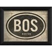 The Artwork Factory BOS Boston Airport Code Framed Textual Art