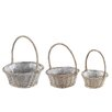 Castleton Home 3 Piece Round Willow Basket Set