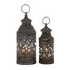 Cole & Grey 2 Piece Metal and Glass Lantern Set