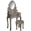 Hazelwood Home Old Fashioned Dressing Table Set with Mirror