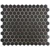 "New York Hexagon 10.25"" x 12"" Porcelain Unglazed Mosaic Tile in Antique Black"