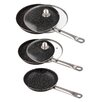 Best Direct Stonewell 3-Piece Induction Compatible Non-Stick Saute Pan Set with Lids
