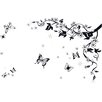 Walplus Swarovski Black Butterfly Vine Art Wall Sticker