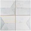 """EliteTile Geamenti 17.58"""" X 17.58"""" Ceramic Patterned/Field Tile in Beige/Gray"""