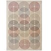 Castleton Home Circles in Circles Grey/Red Area Rug
