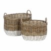 Castleton Home Pramble 2 Piece Oval Storage Rattan Basket Set