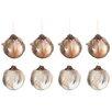 The Seasonal Aisle 8 Piece Feathers Glass Ball Ornament Set
