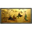 "Oriental Furniture 36"" x 72"" Gold Leaf Ladies and Bamboo 4 Panel Room Divider"