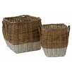 Castleton Home Pramble 2 Piece Square Spit Kubu Rattan Storage Basket Set