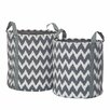 Premier Housewares 2 Piece Chevron Storage Woven Paper Basket Set