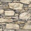 NuWallpaper Hadrian Stone Wall 5.5m L x 52cm W Brick, Wood and Stone Roll Wallpaper
