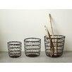 Creative Co-Op Botanist 3 Piece Metal Open Weave Basket Set