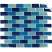 "MS International Crystallized 1"" x 2"" Glass Mosaic Tile in Iridescent Blue"