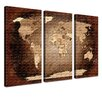 LanaKK World Map Antique - French Graphic Art Print Set on Canvas in Brown (Set of 3)