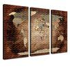 LanaKK World Map Intensive - French Graphic Art Print Set on Canvas in Brown (Set of 3)
