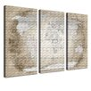 LanaKK World Map - Spanish Graphic Art Print Set on Canvas in Beige (Set of 3)