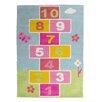 Castleton Home Kids Hopscotch Hand-Tufted Blue/Pink Area Rug