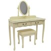 Lily Manor Solid Wood Dressing Table Set with Mirror