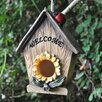 Castleton Home Sunflower Welcome Text Hanging Bird House