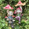 Castleton Home 2 Piece Pixie Couple Under Mushrooms Outdoor Decorative Garden Statue Set