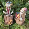 Castleton Home 2 Piece Pixie Sat on Logs Outdoor Decorative Garden Statue Set