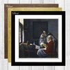 Big Box Art Girl Interrupted at Her Music by Johannes Vermeer Framed Painting Print